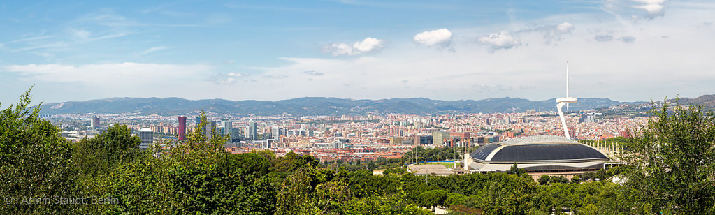 panorama of barcelona with olympic stadium