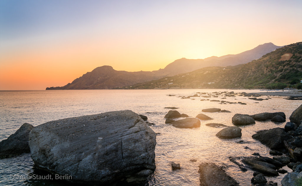sunset over the greek sea at crete