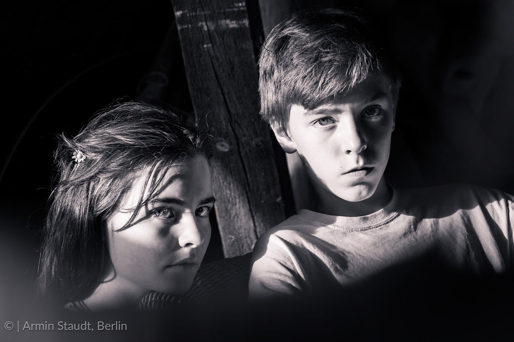 black and white portrait of two teenagers