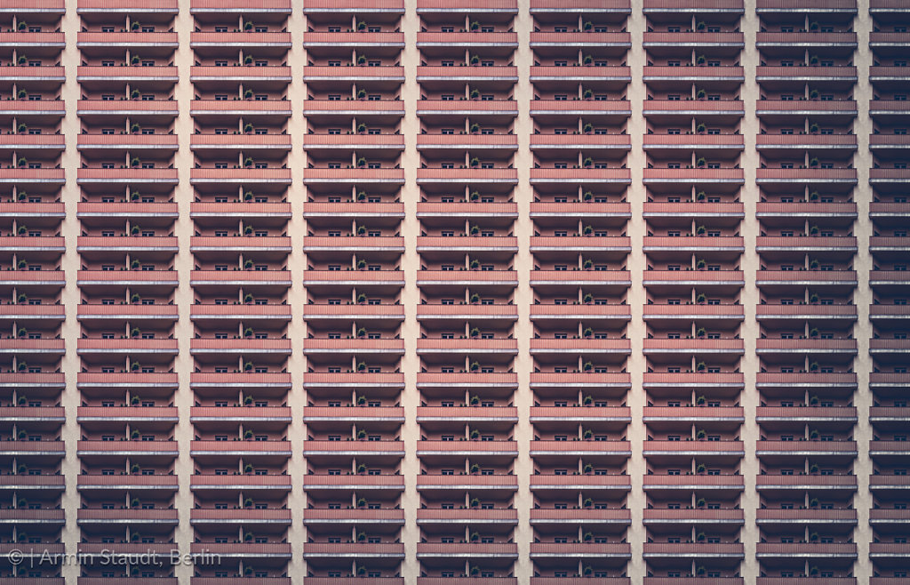 architectural pattern, balcony facade of a miserable berlin house