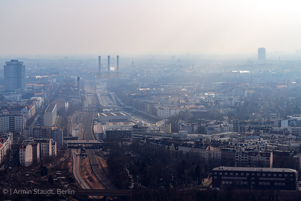 misty skyline of Berlin with freeway