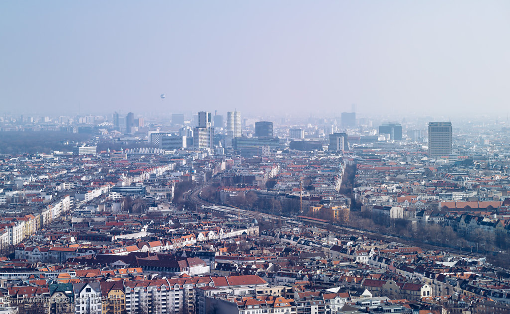 panorama of Berlin, on a hazy day
