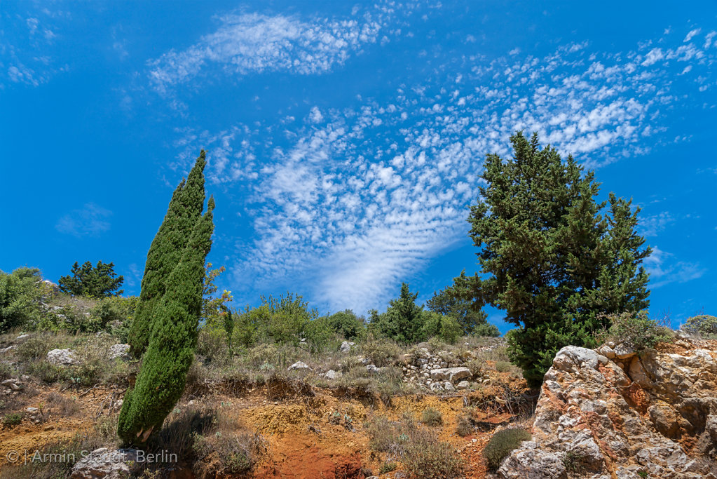 mediterranean nature, red earth and bleu sky on Kefalonia, Greece