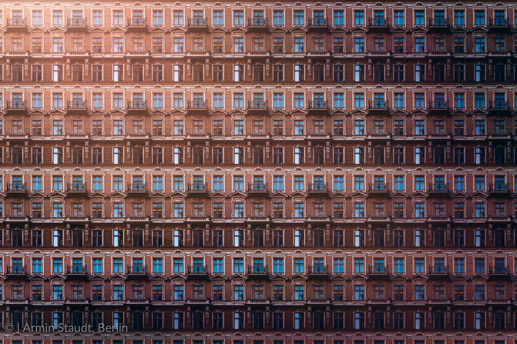 architectural pattern, windows and balconies with stucco of an old berlin house