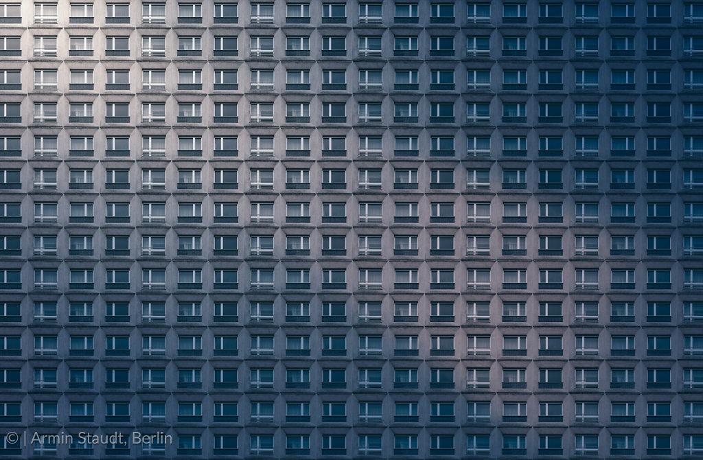 pattern version, platternbau, window facade of an old GDR buildi