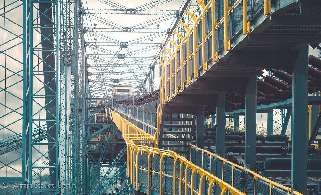 details of an huge old transportation bridge for lignite