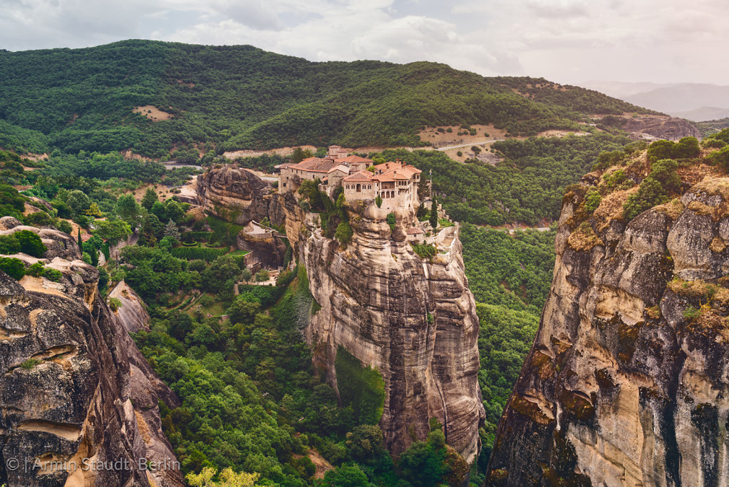 Monasteries of Meteora, Greece, built on huge rocks in a beautiful landscape